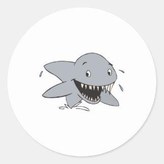 smiling shark round sticker