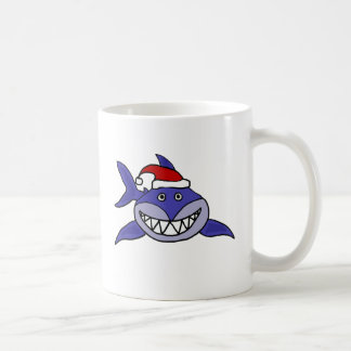 Smiling Shark Wearing Santa hat Christmas Art Coffee Mug
