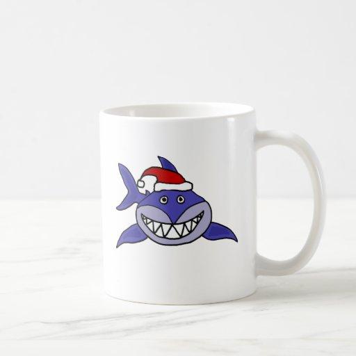 Smiling Shark Wearing Santa hat Christmas Art Coffee Mugs
