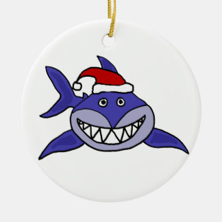 Smiling Shark Wearing Santa hat Christmas Art Round Ceramic Decoration