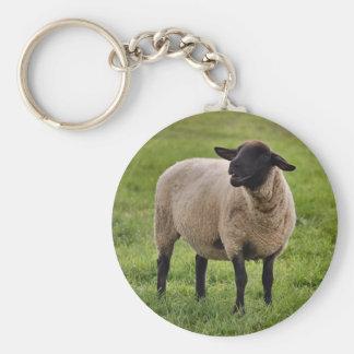 Smiling Sheep Basic Round Button Key Ring