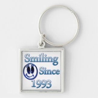 Smiling Since 1992 Silver-Colored Square Key Ring