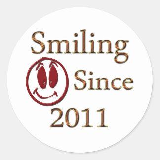 Smiling Since 2011 Round Sticker