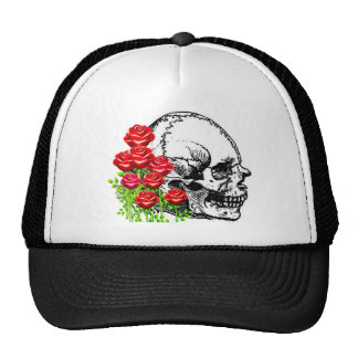 SMILING SKULL AND ROSES VINTAGE PRINT HATS