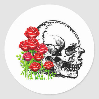 SMILING SKULL AND ROSES VINTAGE PRINT ROUND STICKER