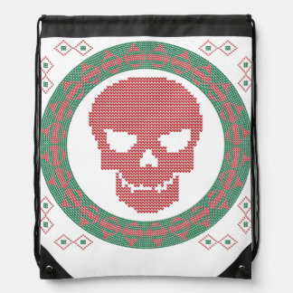 Smiling Skull Ugly Holiday Sweater Christmas Backpack