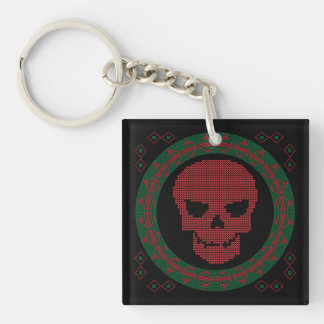 Smiling Skull Ugly Holiday Sweater Christmas Double-Sided Square Acrylic Key Ring