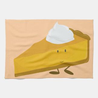 Smiling slice of pumpkin pie tea towel