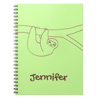 Smiling Sloth Hanging from Tree Notebook