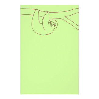 Smiling Sloth Hanging from Tree Custom Stationery