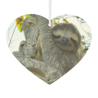 Smiling Sloth Heart Air Freshener, Emerald Sea