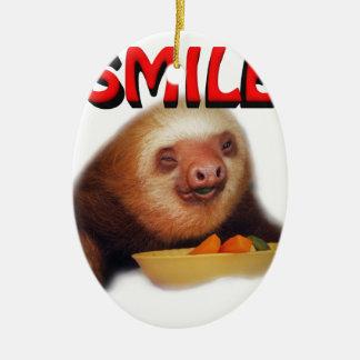 smiling slothie ceramic oval decoration