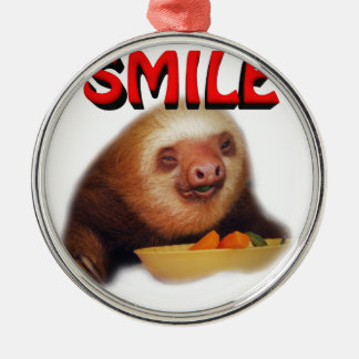 smiling slothie Silver-Colored round decoration