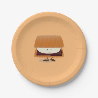 Smiling S'more 7 Inch Paper Plate