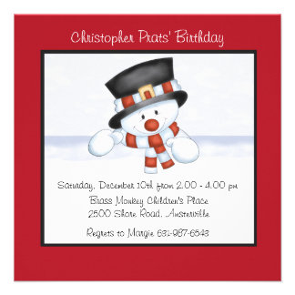 Smiling Snowman - Birthday Party Invitation