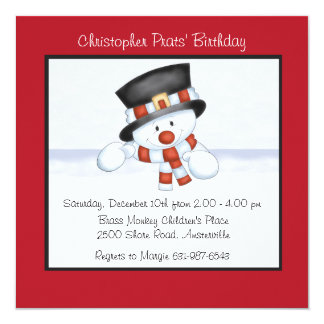 Smiling Snowman - Birthday Party Invitation