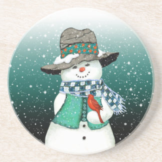 Smiling Snowman, Cardinal in a Snowstorm Coaster