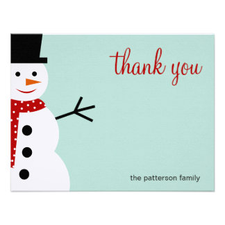 Smiling Snowman Christmas Holiday Thank You Cards Personalized Invites