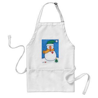 Smiling Snowman Folk Art White Christmas Apron