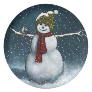 Smiling Snowman in Snow: Chickadee: Pastel Art Dinner Plates