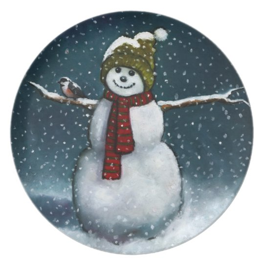 Smiling Snowman in Snow: Chickadee: Pastel Art Plate