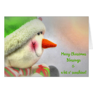 Smiling Snowman Merry Christmas Sunshine Card