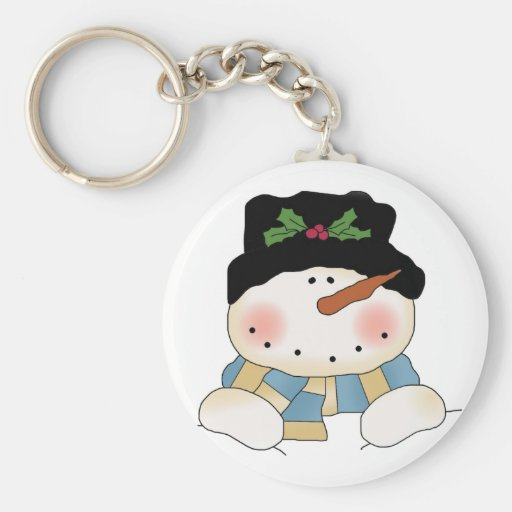Smiling  Snowman Tshirts and Gifts Keychain