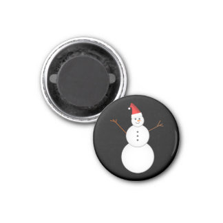 Smiling Snowman Wearing A Red Christmas Santa Hat 3 Cm Round Magnet