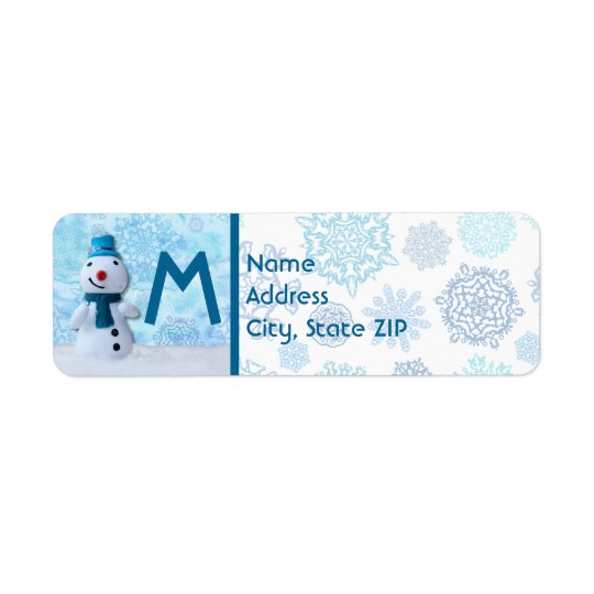 Smiling Snowman with Blue Scarf and Red Nose Return Address Label