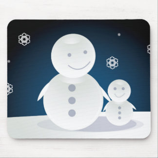 Smiling Snowpeople Mouse Pad