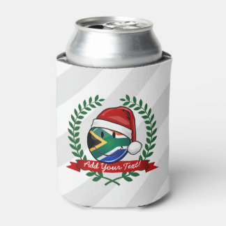 Smiling South African Flag Christmas Style Can Cooler