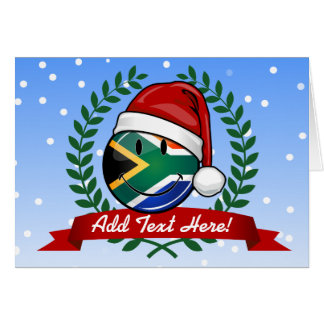 Smiling South African Flag Christmas Style Card