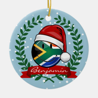 Smiling South African Flag Christmas Style Round Ceramic Decoration