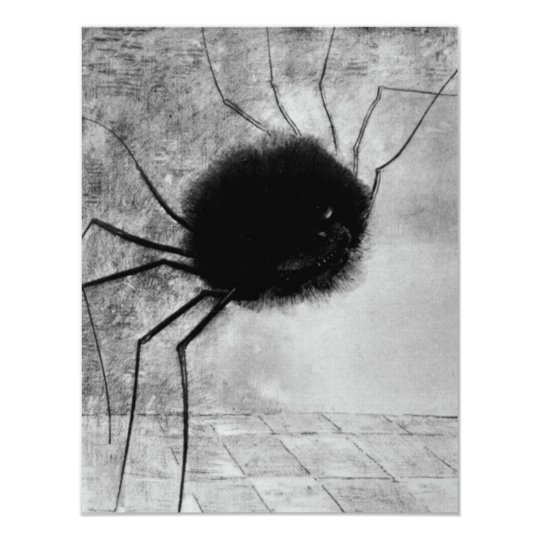 Smiling Spider by Odilon Redon, Vintage Halloween Card