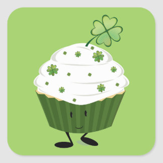 Smiling St. Patrick's day cupcake Square Sticker