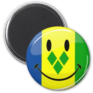 Smiling St. Vincent and Grenadines Flag 6 Cm Round Magnet