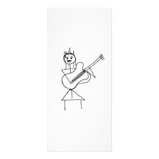 Smiling Stick Figure Girl holding bass / guitar Custom Rack Card