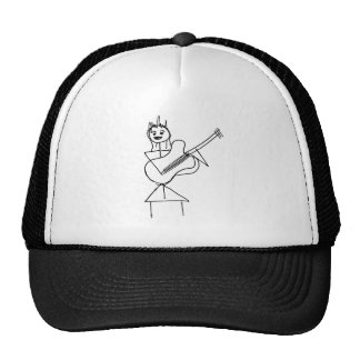 Smiling Stick Figure Girl holding bass / guitar Mesh Hat