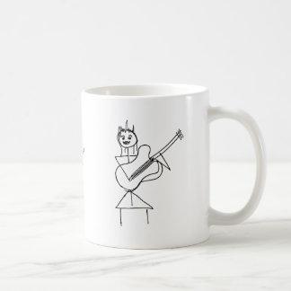 Smiling Stick Figure Girl holding bass / guitar Coffee Mug