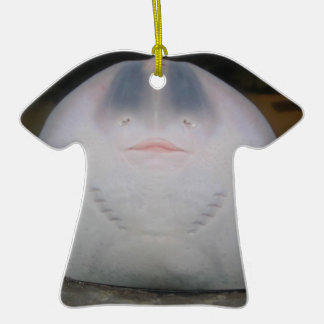 Smiling Sting Ray Swimming in Water Double-Sided T-Shirt Ceramic Christmas Ornament