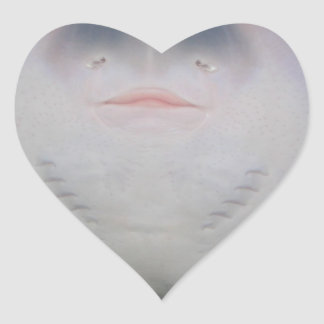 Smiling Sting Ray Swimming in Water Heart Sticker