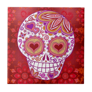 Smiling Sugar Skull Love Heart Eyes Ceramic Tile