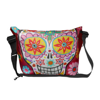 Smiling Sugar Skull Messenger Bag