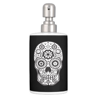 Smiling Sugar Skull Soap Dispenser And Toothbrush Holder