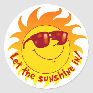 Smiling Summer Sun Classic Round Sticker