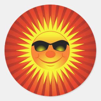 Smiling Summer Sun Round Sticker
