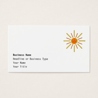 Smiling Summer Sun. Yellow and Orange. Business Card