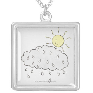 Smiling Sun 2 Silver Plated Necklace