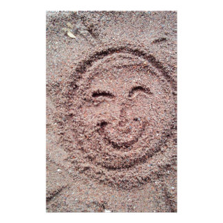Smiling Sun, Sand Emoticon, Summer Emoji Custom Stationery
