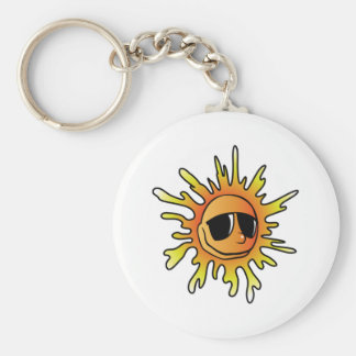 Smiling Sun Wearing Sunglasses Keychain